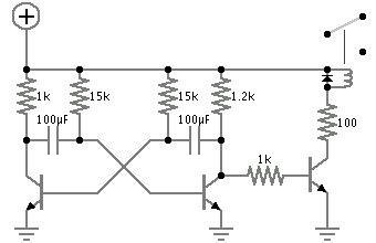 Astable multivibrator relay